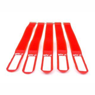 Gafer Kabelbinder Klettverschluss 25x260mm 5er Pack rot